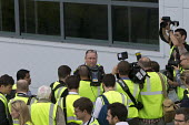 Mike Ashley talking to media as he gives a tour of Sports Direct warehouse, Shirebrook, Derbyshire - John Harris - 07-09-2016