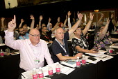 Dave Ward and CWU delegation voting TUC conference Brighton - Jess Hurd - 2010s,2016,Conference,conferences,Congress,CWU,Dave Ward,delegate,delegates,delegation,democracy,Hands up,member,member members,members,people,Trade Union,Trade Union,Trade Unions,Trades Union,Trades
