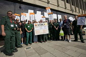 GMB members from St Peter Medical Centre protest outside TUC conference Brighton as Sussex patent transport provider contracted by Coperforma, Docklands Medical Services, is bankrupt and ambulance sta... - Jess Hurd - 14-09-2016