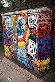Anti bullying graffiti art on a telephone exchange junction box, Brighton - Jess Hurd - 13-09-2016
