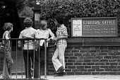 Unemployed school leavers, all with GCSE and CSE passes in their exam results at the careers office, Westoe, South Shields, summer, 1975 - Ray Smith - 1970s,1975,adolescence,adolescent,adolescents,BAME,BAMEs,BEMM,BEMMs,benefit,benefits,black,BME,bmes,boy,boys,career,CAREERS,careers office,child,CHILDHOOD,children,choice,choices,choosing,cities,City,