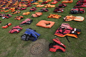 Graveyard of life jackets, 2500 laid out in Parliament Square, a tribute to thousands of refugees who have drowned over the past year trying to cross the Mediterranean, London - Jess Hurd - 19-09-2016