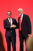 Jeremy Corbyn shaking hands with Owen Smith Labour Party leadership announcement. Liverpool. - Jess Hurd - 2010s,2016,campaign,campaigning,CAMPAIGNS,conference,conferences,congratulating,DEMOCRACY,elected,election,elections,hands,Jeremy Corbyn,Labour Party,leader,Leadership,Left,left wing,Leftwing,Liverpoo