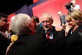 Jeremy Corbyn hugging John McDonnell as Corbyn is elected leader of the Labour Party for a second time. Liverpool. - Jess Hurd - 2010s,2016,campaign,campaigning,CAMPAIGNS,CELEBRATE,CELEBRATING,celebration,celebrations,conference,conferences,congratulating,DEMOCRACY,elected,election,elections,EMBRACE,EMBRACING,HUG,hugging,hugs,J