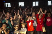 Joy as the victory of Jeremy Corbyn in Labour Party leadership election is announced, Supporters attending the live screening of the labour leadership election results, The World Transformed. Black-E,... - John Harris - 24-09-2016