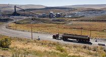 Oak Creek, Colorado, Weighing an empty coal lorry before loading with coal, Peabody Energy Twentymile Mine - Jim West - 2010s,2016,capitalism,coal,Coal Industry,coal mine,coal truck,coalfield,coalindustry,collieries,colliery,Colorado,EBF,Economic,Economy,empty,energy,fossil fuel,HAULAGE,HAULIER,HAULIERS,HGV,hgvs,highwa