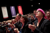 Eddie Izzard and shadow cabinet during a tribute to Jo Cox MP, Labour Party conference Liverpool. - Jess Hurd - 2010s,2016,applauding,applause,conference,conferences,Eddie Izzard,Jo Cox,Labour Party,Liverpool,MP,MPs,Party,POL,political,politician,politicians,Politics