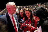 Jeremy Corbyn talking to supporters, Labour Party conference Liverpool. - Jess Hurd - 2010s,2016,Asian,Asians,BAME,BAMEs,BEMM,black,BME,bmes,communicating,communication,conference,conferences,conversation,cultural,dialogue,diversity,dress,ethnic,ethnicity,FEMALE,hajib,hajibs,headscarf,