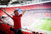 Barnsley fans celebrating the league One victory over Millwall. Wembley Stadium, London - Connor Matheson - 29-05-2016