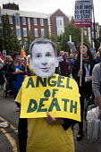 Angel of Death Jeremy Hunt mask. Protest against the closure of Liverpool Womens Hospital, The World Transformed, Black-E, Liverpool - connor matheson - 25-09-2016