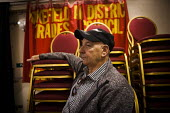 Watching a film screening at the Red Shed Labour club. Wakefield, West Yorkshire - Connor Matheson - 2010s,2016,ACE,Arts,audience,AUDIENCES,banner,banners,cinema,cinemas,cities,City,club,clubs,Culture,film,Labour Party,Leisure,LFL,LIFE,male,man,member,member members,members,men,MP,people,person,perso
