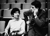 Japanese conductor Seiji Ozawa and Greek composer Iannis Xenakis, Royal Festival Hall London 1967 - Patrick Eagar - 1960s,1967,ACE,Arts,baton,batons,cities,city,classical,classical music,communicating,communication,composer,Composers,conductor,conductors,conversation,conversations,Culture,dialogue,discourse,discuss