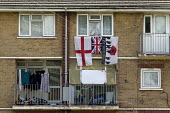 Flats with flags, Druids Heath, Birmingham - John Harris - 2010s,2016,accommodation,armed forces,armed services,army,balcony,Birmingham,charitable,charity,cities,city,COMMEMORATE,COMMEMORATING,commemoration,COMMEMORATIONS,commemorative,council services,counci
