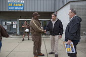 Hodgkins, Illinois, Fred Zuckerman (R) campaigning for president of the Teamsters Union, UPS hub near Chicago. The Teamsters United slate are reformers who are opposing incumbents led by James P. Hoff... - Jim West - 30-09-2016