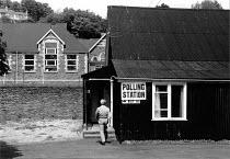 Voter entering a polling station, Tredegar, South Wales 1987 - John Harris - 11-06-1987