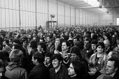 Mass meeting voting to return to work after winning. Occupation of L. Gardner and Sons Ltd engines factory, Eccles, Manchester against 590 compulsory redundancies 1980 - John Harris - 1980,1980s,against,AUEW,CSEU,democracy,disputes,Eccles,ENGINE,engines,FACTORIES,factory,Hawker Siddeley,INDUSTRIAL DISPUTE,job loss,Job Losses,jobs,L. Gardner and Sons,lock-out,loss,losses,man men,Man
