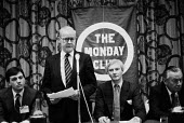 John R Pinniger, (L) James Molyneaux speaking, Harvey Proctor (R), Julian Amery MP, The Monday Club meeting, Conservative Party Conference 1982 - John Harris - 07-10-1982
