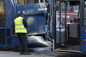 Road traffic accident involving two buses colliding at a bus stop Birmingham - John Harris - 2010s,2016,accident,accidental,accidents,accidents at work,BAME,BAMEs,Birmingham,Black,BME,bmes,bus,bus service,Bus Stop,buses,cities,City,collision,crash,crashed,damage,damaged,DIA,Diamond Bus,divers