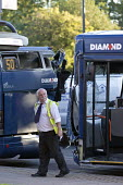 Road traffic accident involving two buses colliding at a bus stop Birmingham - John Harris - 2010s,2016,accident,accidental,accidents,accidents at work,Birmingham,bus,bus service,Bus Stop,buses,cities,City,collision,crash,crashed,damage,damaged,DIA,Diamond Bus,driver,drivers,driving,employee,