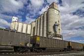 Schuyler, Nebraska, USA Grain silos, elevator and passing train - David Bacon - 25-09-2016