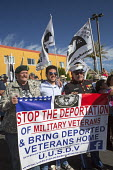 Nogales, Arizona, Army veterans march across the USA Mexican border protesting the increasing militarization of the border, the separation of immigrant families and USA policies that make it hard for... - Jim West - 08-10-2016