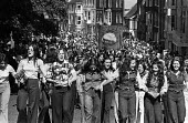 Durham Miners Gala, 1975. Annual procession of The Big Meeting through the City of Durham by miners from the pit villages of the north eastern area. Following tradition, girls from the pit villages da... - John Sturrock - 19-07-1975