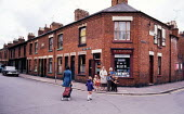 Durham Miners Gala, 1975. Annual procession of The Big Meeting through the City of Durham by miners from the pit villages of the north eastern area. Crowd gathering at Durham Racecourse to listen to t... - John Sturrock - 17-07-1975