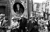 Durham Miners Gala, 1975. Annual procession of The Big Meeting through the City of Durham by miners from the pit villages of the north eastern area. Ex miners from Murton Lodge join the Gala - John Sturrock - 17-07-1975