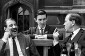 David Steel Liberal MP with two fellow MPs on the Terrace at the Palace of Westminter following his victory in the March 1965 bye-election. Steel was then the youngest Member of Parliament at The Hous... - Romano Cagnoni - 1960s,1965,BABIES,Baby,bar,bars,beer,bottle,bottles,communicating,communication,conversation,conversations,David Steel,dialogue,discourse,discuss,discusses,discussing,discussion,drink,drinker,drinkers