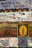 Tucson, Arizona USA, quilt made from clothing left by migrants crossing the Arizona desert. Made by members of the Migrant Quilt Project, the quilts document the nearly 3,000 deaths of migrants trying... - Jim West - 07-10-2016