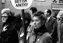 Protest against British involvement in the Vietnam war, Trafalgar Square, London 1967 Older woman with placard: British Apathy - Patrick Eagar - 1960s,1967,activist,activists,against,American,americans,anti,anti war,Antiwar,anti-war,apathy,British Apathy,CAMPAIGN,campaigner,campaigners,CAMPAIGNING,CAMPAIGNS,DEMONSTRATING,Demonstration,DEMONSTR