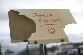 Jungle Finished, sign outside makeshift Jungle camp, Calais, France. - Jess Hurd - 28-10-2016
