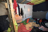 Belongings left behind in Refugees shelters, eviction from The Jungle camp prior to a demolition by French authorities. Calais, France - Jess Hurd - 26-10-2016