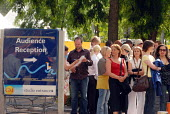 Members of the public queueing to see programmes being broadcast at GMTV studios on London's South Bank - Stefano Cagnoni - 23-06-2008