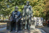 Berlin, Germany, Statues of Karl Marx and Frederich Engels, the founding theoreticians of the Communist movement, the Marx Engels Forum, a park in the former city center of East Berlin - David Bacon - 2010s,2016,ACE,art,arts,artwork,artworks,Berlin,cities,city,communism,Communist Party,communists,culture,East Berlin,East Germany,eu,Europe,european,europeans,eurozone,Frederich Engels,GDR,german,germ
