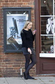 Hairdresser taking a break, Stratford upon Avon, Warwickshire - John Harris - 05-11-2016