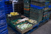 Unsold fruit and vegetables outside a wholesalers, Stratford upon Avon, Warwickshire - John Harris - 05-11-2016