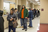 Detroit, Michigan, USA 2016 Presidential election Voters waiting in line for the 7:00am opening of the polling station - Jim West - 2010s,2016,African American,African Americans,ballot,ballot papers,BALLOTING,ballots,BAME,BAMEs,black,BME,bmes,cities,citizenship,City,Clinton Trump,cultural,democracy,Detroit,Diaspora,diversity,elect