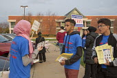 Michigan, USA 2016 Presidential election, American Arab & Muslim Political Action Committee (AAMPAC) campaigning for their candidates outside a polling station - Jim West - 2010s,2016,activist,activists,American,American Arab,americans,arab,Arab-American,arabs,Asian,Asians,ballot,ballot papers,BALLOTING,ballots,BAME,BAMEs,Black,BME,bmes,campaign,campaigner,campaigners,ca