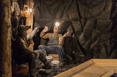 Leadville, Colorado - The National Mining Hall of Fame Museum, display showing miners eating lunch down a coal mine - Jim West - 2010s,2016,ACE,canary,capitalism,carbide lamp,coal,coalfield,Colorado,Culture,display,displays,eating,exhibit,extracting,food,Heritage,historic,Industries,industry,Leadville,manikin,manikins,mannequin