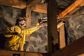 Leadville, Colorado, The National Mining Hall of Fame Museum, display showing a worker with a hand operated drill down a coal mine - Jim West - 2010s,2016,ACE,capitalism,carbide lamp,coal,coalfield,Colorado,Culture,display,displays,drill,drilling,exhibit,extracting,Heritage,historic,Industries,industry,Leadville,manikin,manikins,mannequin,man