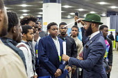 Detroit, Michigan: Edmund Lewis of Minority Males for Higher Education speaking to young African American men, job fair sponsored by the nonprofit My Brother's Keeper - Jim West - 14-11-2016