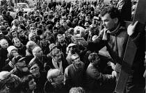 Mass meeting of thousands of car workers on strike at Land Rover in a pay dispute, Solihull, Birmingham 1988 - John Harris - 1980s,1988,AEU,Birmingham,car worker,car workers,dispute,disputes,INDUSTRIAL DISPUTE,Land,Left,left wing,Leftwing,Mass,Mass Meeting,mass meetings,meeting,MEETINGS,member,member members,members,militan