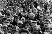 Mass meeting of thousands of car workers on strike at Land Rover in a pay dispute, Solihull, Birmingham 1988 - John Harris - 1980s,1988,AEU,Birmingham,car worker,car workers,dispute,disputes,INDUSTRIAL DISPUTE,Land,male,man,Mass,Mass Meeting,mass meetings,meeting,MEETINGS,member,member members,members,men,people,person,pers