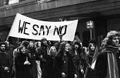 1972 Majority Rule for Zimbabwe Now protest, Trafalgar Square, London. We Say No banner carried by university students - MIke Tull - 13-02-1972