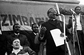 1972 Majority Rule for Zimbabwe Now protest, Trafalgar Square, London Bishop Abel Muzorewa speaking - MIke Tull - 13-02-1972
