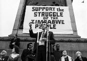 Jimmy Reid of the Upper Clyde Shipbuilders occupation speaking, 1972 Majority Rule for Zimbabwe Now protest, Trafalgar Square, London - MIke Tull - 13-02-1972