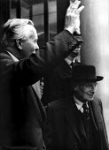 1964 Prime Minister Harold Wilson and former Labour PM Clement Attlee leaving TGWU HQ Transport House Westminster london - Romano Cagnoni - 17-10-1964