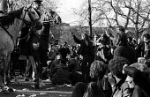 1970 British Council for Peace in Vietnam demonstration against extension of the US war against Vietnam into Cambodia Grovesnor Square, London. Outside the American Embassy - Sally Fraser - 09-05-1970