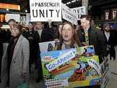 Rail passengers from the Association of British Commuters protest at Victoria Station against the crisis in transport provision at Southern Rail leading to terrible travelling conditions for customers... - Stefano Cagnoni - 2010s,2016,ABC,activist,activists,adult,adults,against,anger,angry,ASLEF,CAMPAIGN,campaigner,campaigners,CAMPAIGNING,CAMPAIGNS,COMMUTE,commuter,commuters,COMMUTING,crisis,customer,customers,DEMONSTRAT